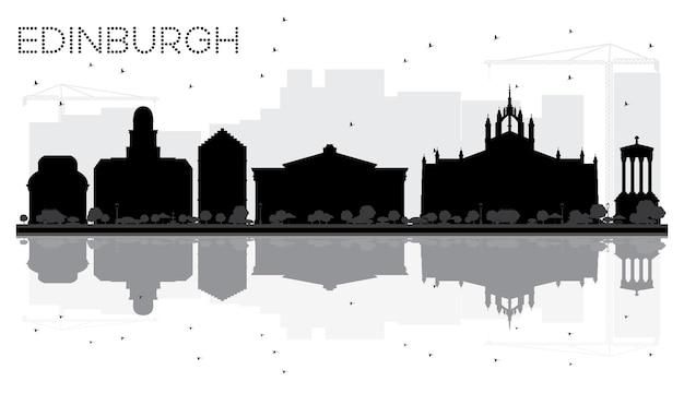 Silhouette noire et blanche d'horizon de ville d'édimbourg avec des réflexions. illustration vectorielle. paysage urbain avec des points de repère.