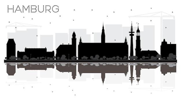 Silhouette noire et blanche d'horizon de ville de hambourg allemagne avec des réflexions. illustration vectorielle. concept de voyage d'affaires. paysage urbain de hambourg avec des points de repère.