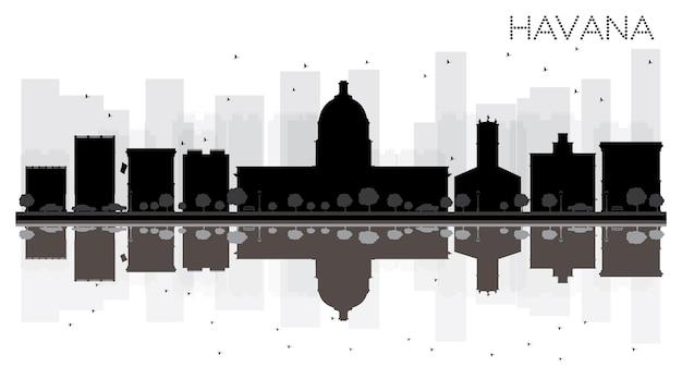 Silhouette noire et blanche d'horizon de ville de la havane avec des réflexions. illustration vectorielle. concept plat simple pour la présentation touristique, la bannière, la pancarte ou le site web. paysage urbain avec monuments célèbres