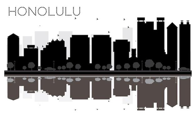 Silhouette noire et blanche d'horizon de ville de honolulu avec des réflexions. illustration vectorielle. concept plat simple pour la présentation touristique, la bannière, la pancarte ou le site web. paysage urbain avec des points de repère.