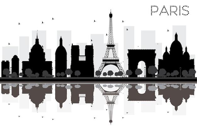 Silhouette noire et blanche d'horizon de ville de paris avec des réflexions. illustration vectorielle. concept plat simple pour la présentation touristique, la bannière, la pancarte ou le site web. paysage urbain avec monuments célèbres
