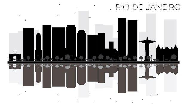 Silhouette noire et blanche d'horizon de ville de rio de janeiro avec des réflexions. illustration vectorielle. concept plat simple pour la présentation touristique, la bannière, la pancarte ou le web. paysage urbain avec monuments