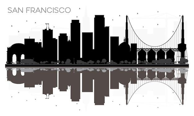 Silhouette noire et blanche d'horizon de ville de san francisco avec des réflexions. illustration vectorielle. concept plat simple pour la présentation touristique, la bannière, la pancarte ou le site web. paysage urbain avec des points de repère.