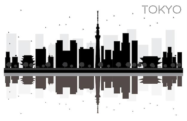 Silhouette noire et blanche d'horizon de ville de tokyo avec des réflexions. illustration vectorielle. concept plat simple pour la présentation touristique, la bannière, la pancarte ou le site web. paysage urbain avec des points de repère.