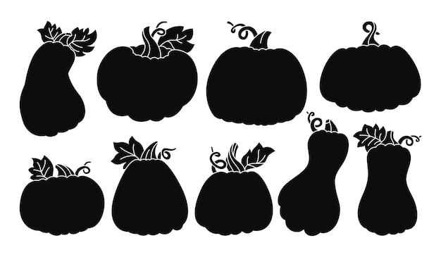Silhouette noire de citrouille mis en automne citrouilles entières mûres halloween ou festival de thanksgiving
