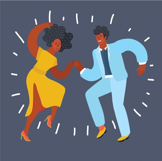 Silhouette noire d'un couple danse swing ou claquettes, pas d'objets blancs,
