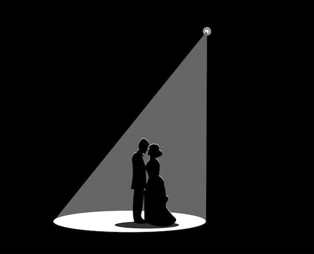 Silhouette noire d'un couple marié