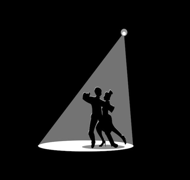 Silhouette noire d'un homme qui danse avec une femme le projecteur blanc brille