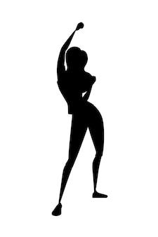 Silhouette noire jeune femme heureuse avec illustration de vecteur plat de conception de personnage de dessin animé main levée isolé sur fond blanc.