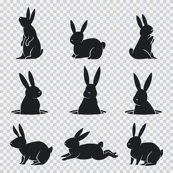 Silhouette noire de lapin