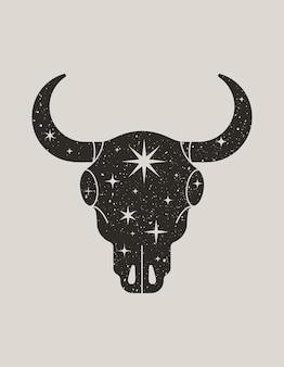 Silhouette noire mystique d'un crâne de taureau dans un style boho branché. illustration vectorielle de magic cow head avec étoiles pour impression sur mur, t-shirt, tatouage, publication sur les réseaux sociaux et histoires