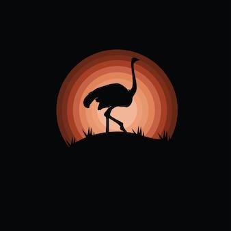 Silhouette d'oiseau d'autruche géant