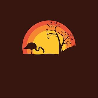 Silhouette d'un oiseau flamant rose