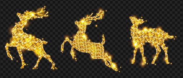 La silhouette de paillettes de cerf de noël d'or a mis des étincelles de conception de décoration de renne de vacances d'hiver