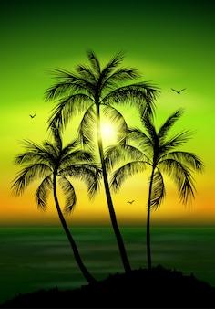 Silhouette de palmier. feuilles de palmier sur fond d'été