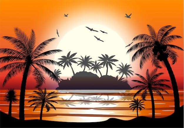 Silhouette de palmier sur la plage.