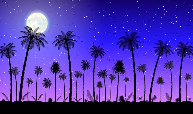 Silhouette panorama jungle