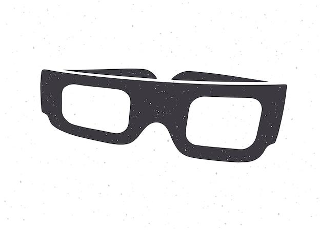 Silhouette de papier de dessin animé lunettes 3d vue de face vector illustration lunettes rétro stéréo