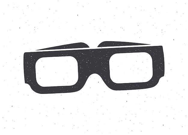 Silhouette de papier lunettes 3d vue de face vector illustration lunettes rétro stéréo