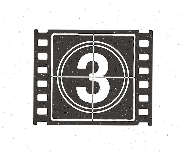 Silhouette de la partie de la bande de film avec compte à rebours illustration vectorielle cadre rétro de la pellicule