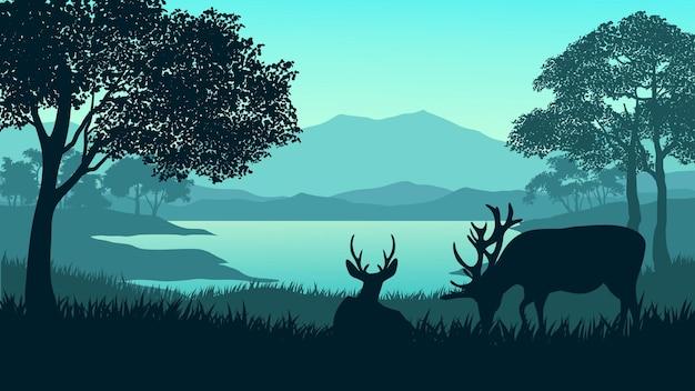 Silhouette de paysage magnifique forêt avec élan