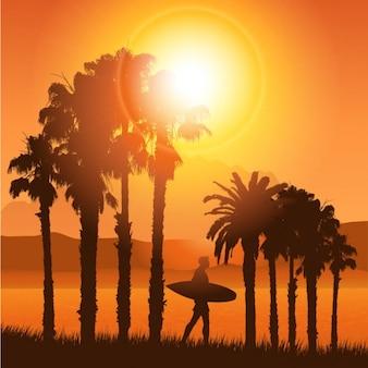 Silhouette paysage tropical à surfer