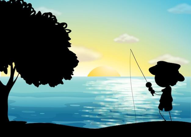 Silhouette de pêche