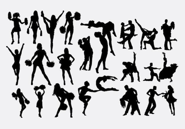 Silhouette de pom-pom girl et danseur