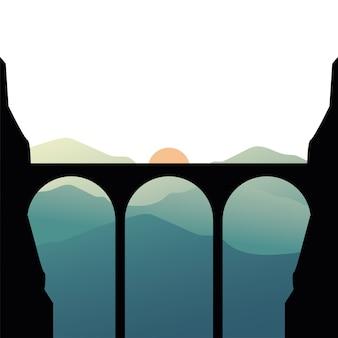 Silhouette de pont en face de la montagne avec illustration de paysage de soleil
