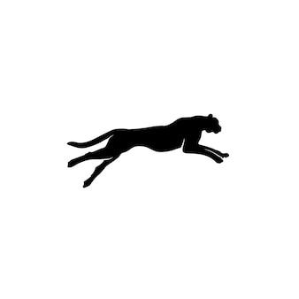 Silhouette de puma leopard jaguar lion panther cheetah tiger logo design