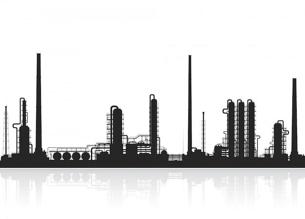 Silhouette de raffinerie de pétrole ou d'usine chimique.