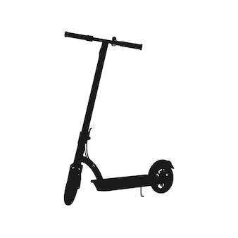 Silhouette réaliste de scooter électrique. icône noire sur fond blanc. graphique vectoriel. vue de perspective