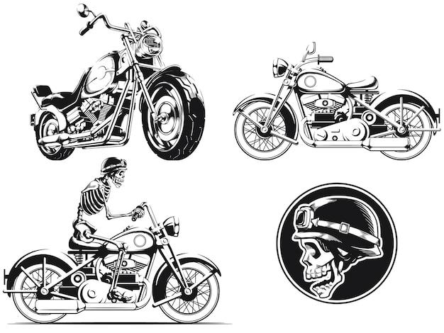 Silhouette rider biker moto gravure contour isolé