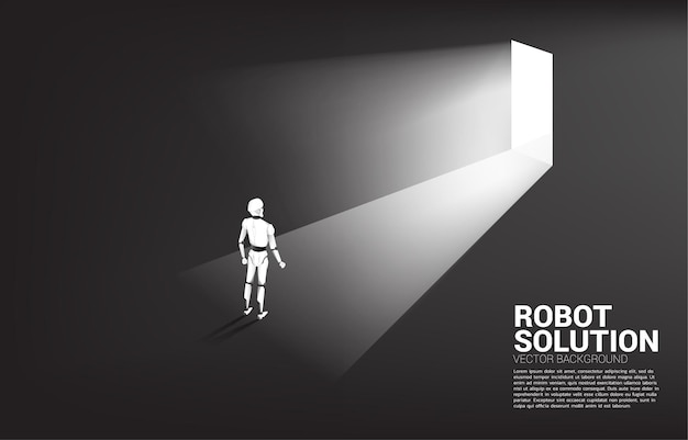 Silhouette de robot debout devant la porte de sortie.