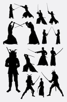 Silhouette de samouraï au japon