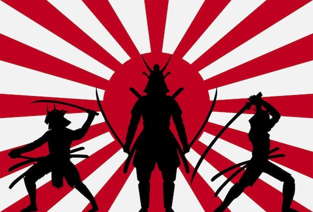 Silhouette, samouraï, lever, soleil, japon, drapeau