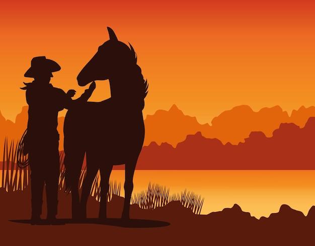 Silhouette de silhouette de cow-boy avec cheval dans la scène de paysage de coucher de soleil