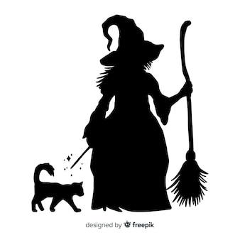 Silhouette d'une sorcière d'halloween