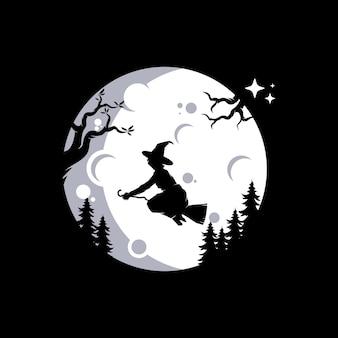 Silhouette de sorcière volante sur la lune