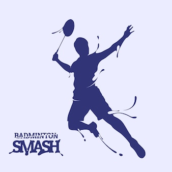 Silhouette de splash de badminton smash