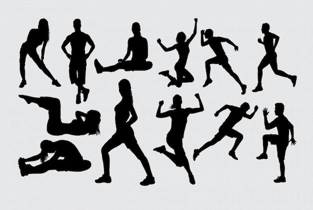 Silhouette de sport d'entraînement musculaire