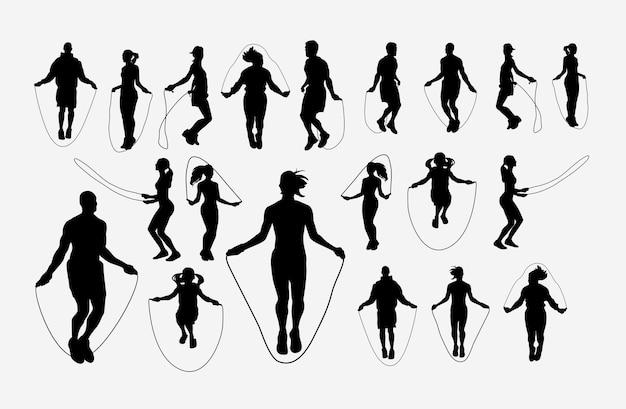 Silhouette de sport formation corde à sauter
