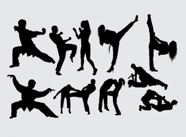 Silhouette de sport masculin et féminin art martial