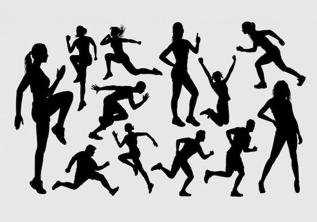 Silhouette sportive masculine et féminine