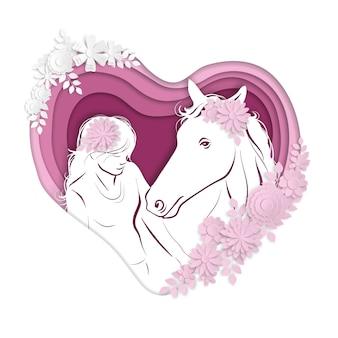 Silhouette stylisée d'une fille sur un cheval