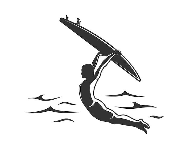 Silhouette de surfeur isolé sur fond blanc