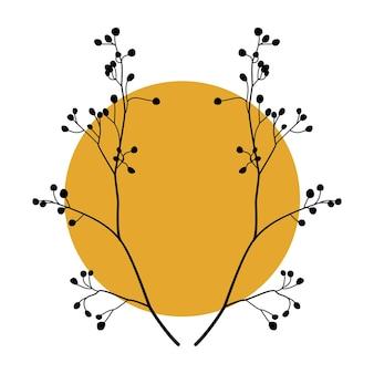 Silhouette de symétrie branches d'arbres avec forme ronde abstraite. conception d'art végétal pour l'art mural boho botanique. illustration vectorielle.