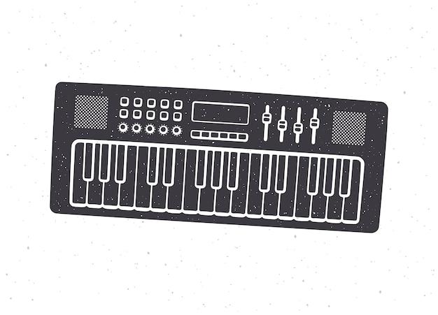 Silhouette de synthétiseur d'instruments de musique à clavier électronique vector illustration