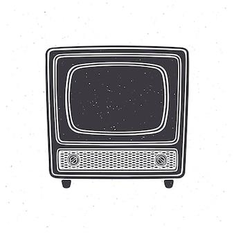 Silhouette de télévision rétro analogique avec signal de corps en bois et sélecteur de chaîne vector illustration