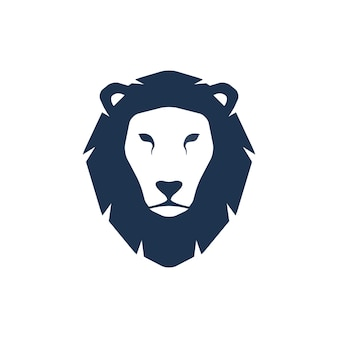 Silhouette de tête de lion. illustration créative de modèle de logo. signe graphique de visage de chat sauvage animal.